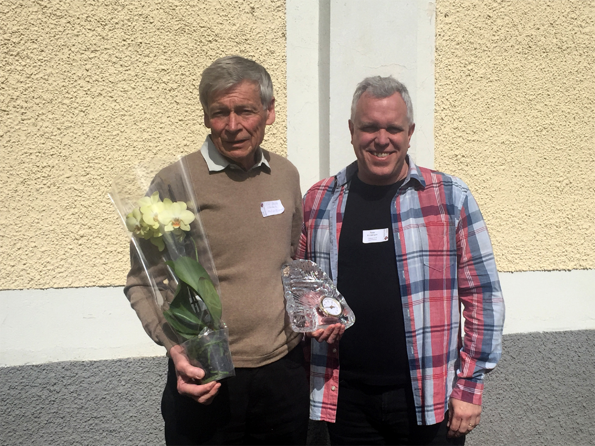 Från vänster Carl-David Söderback och Peter Kristensson som överlämnade 2017 års Kulturarvspris.