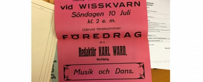 Affisch från 1921 i Ydre Lokalhistoriska Arkiv.