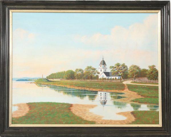 Rättviks kyrka med monumentet på udden, osign målning av Hed Olof Olsson, olja på pannå, 58 x 44 cm. Såld på Dalarnas Auktionsbyrå, Borlänge 2018-04-08 för 900 kr